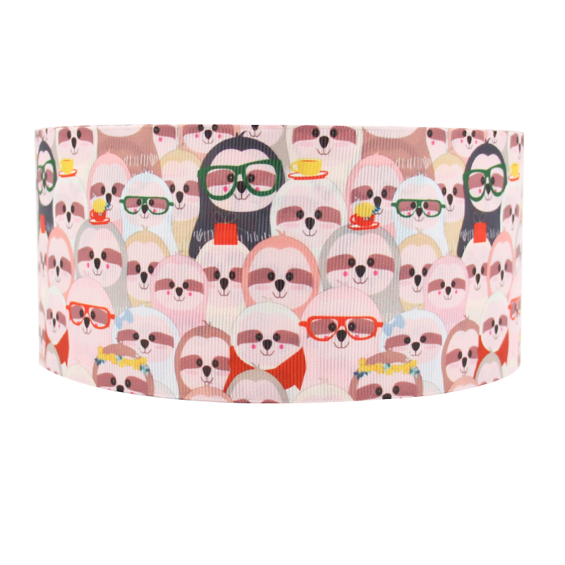 Manufacturer 3 Inch Wide Cartoon Otter Gift Ribbon Heat Transfer Custom Printed Grosgrain Ribbon