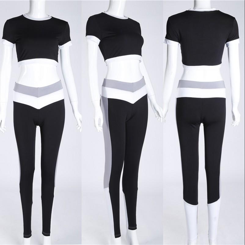 Tracksuitsผู้หญิง2ชิ้นชุดกีฬาLeggingsฟิตเนสโยคะสวมเสื้อแขนสั้นเสื้อกางเกงออกกำลังกาย