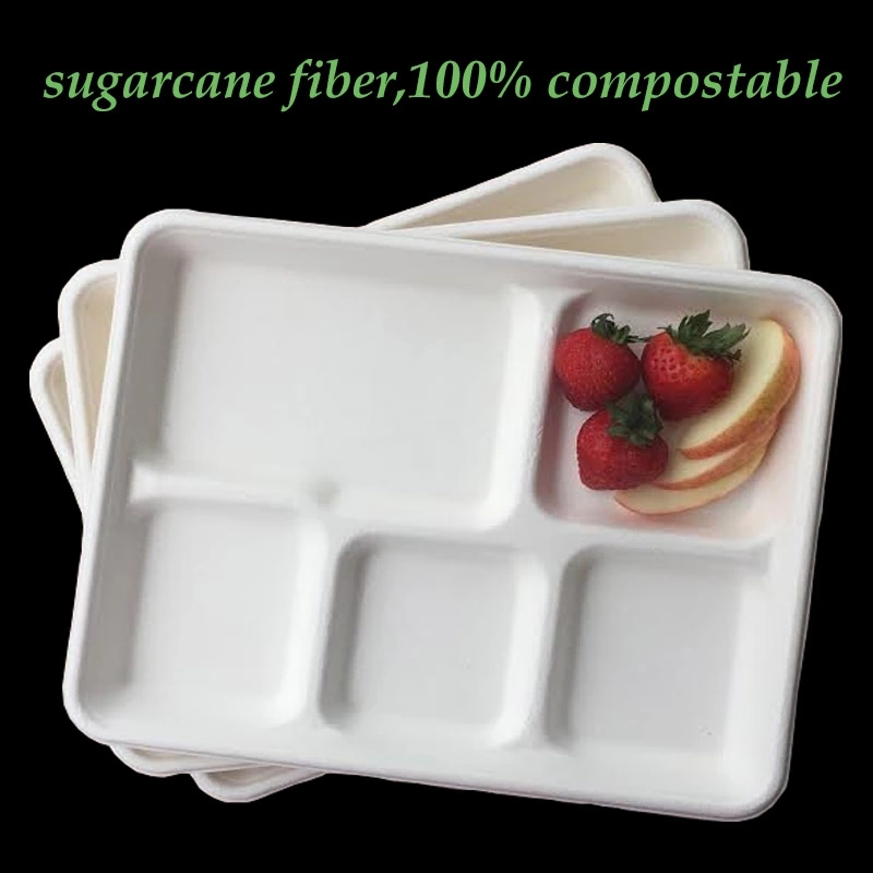 Amazon 100% Compostable Sugar Cane Fiber Heavy Duty Plate 5-Compartment Sugarcane Tray certificate
