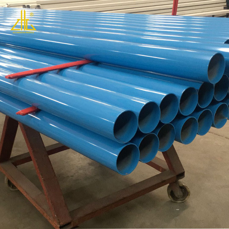 Colorful Powder coated blue aluminium round pipes , aluminium extrusion pipe profiles for industrial use