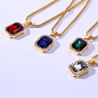 European&American Hip-hop Stainless Steel Square Pendant Necklace Rhinestone Glass Decoration 60cm Gold Chain Customized