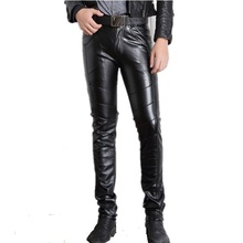 Hot winter man sexy tight pu leather pants black spandex sexy leather pants high waisted skinny black leather pants