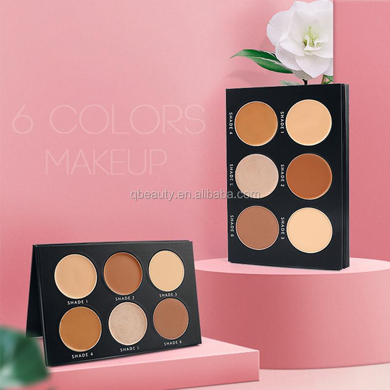 Atacado de alta qualidade private label corretivo paleta de cores contorno 6 foundation makeup palette