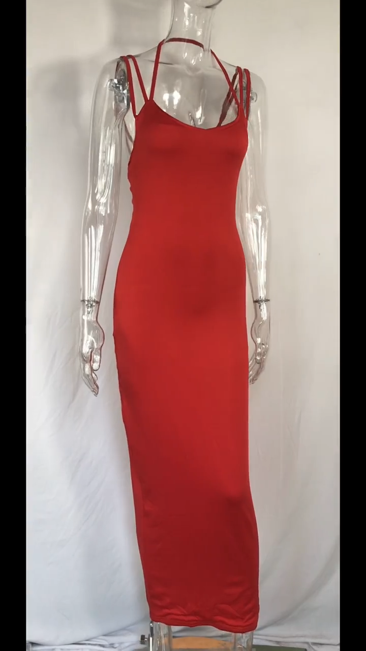 Pakaian Musim Panas Wanita Seksi Gaya Panas 2020 Gaun Tanpa Tali dengan Tali Ketat dan Gaun Wanita Meregang Tinggi