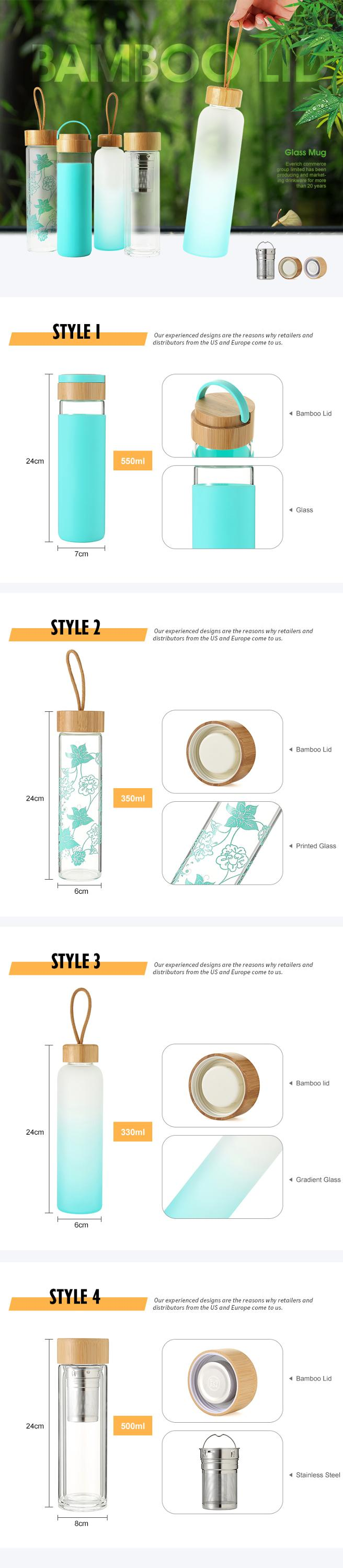 Everich unbreakable glass water bottle with soft sleeve / silicone seal with bamboo lids