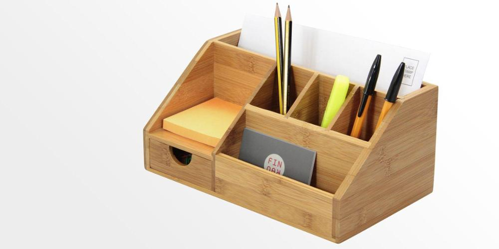 Multifunctional Storage Box Letter Holder,7 compartments Bamboo Stationery Organiser With Drawer