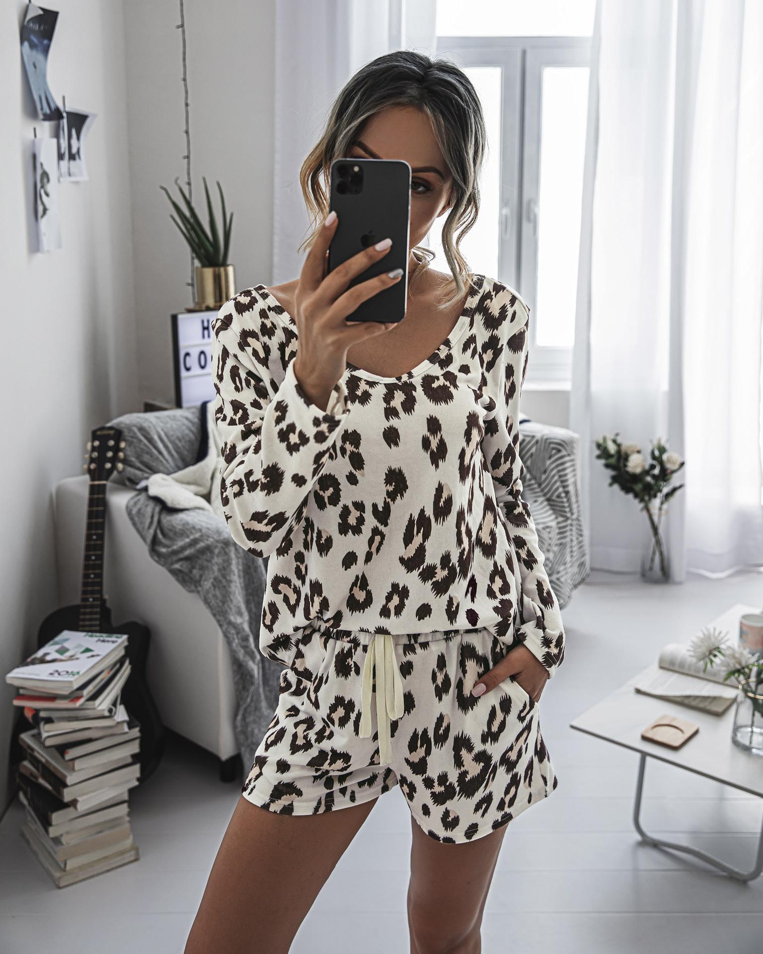 2020 Musim Panas Wanita Pendek Leopard Piyama Set Atasan Lengan Panjang dan Celana Pendek PJ Set 2 Buah Baju Tidur Santai Baju Tidur Pakaian Rumah