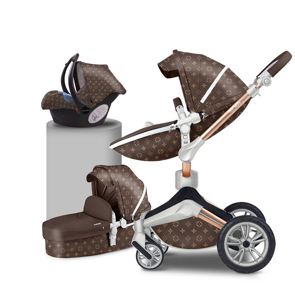 Free shipping China Hot Mom Factory Multifunction crib leather baby stroller 3 in 1 baby stroller pram