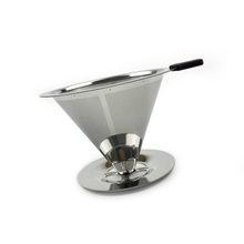 Многоразовый капельный фильтр для кофе, нержавеющая сталь, 1-4 чашки, Безбумажная кофеварка для эспрессо, металлическая сетчатая коническая ...(Китай)