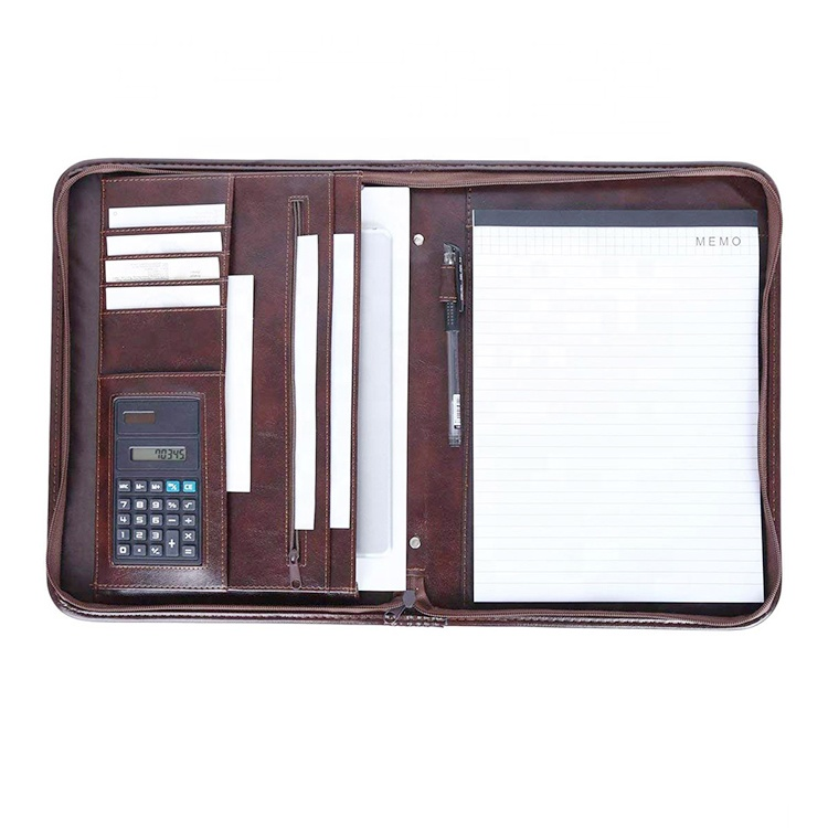 zipper padfolio with calculator document file folder leather professional