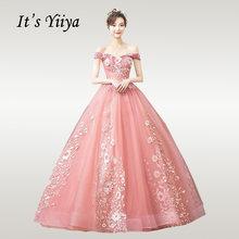 Женское свадебное платье It's YiiYa, элегантное Бордовое платье с вырезом лодочкой и вышивкой, вечерние платья в пол, Vestido de novia CH002(China)