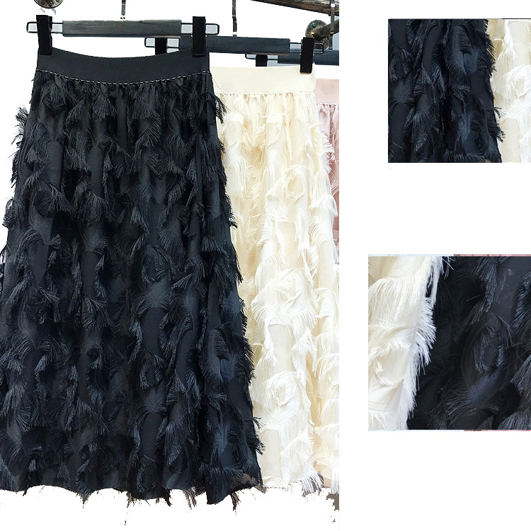 Elegant Wave Tassels Maxi Long Skirts Solid Feather Tiered Split Slim A-line Ankle Long Skirts
