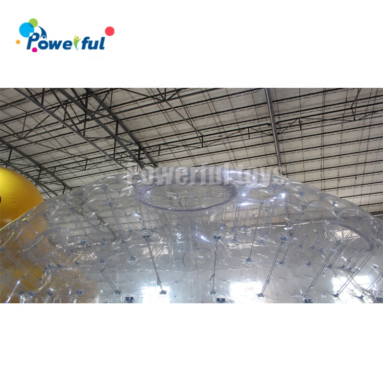 Double Layer Clear PVC Inflatable Dome Tent Camping Tent with LED LIghting