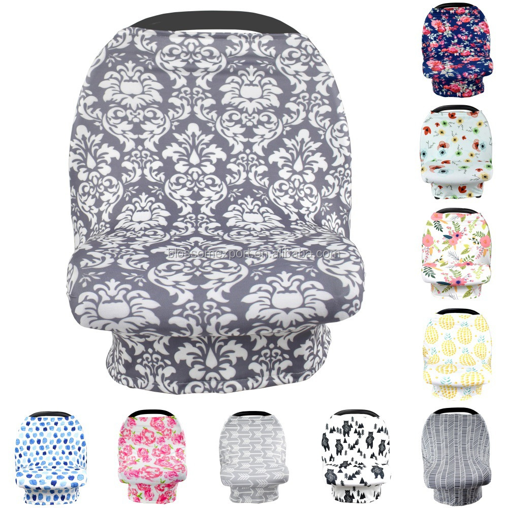 RTS Multi-Use Stretchy Swaddle Baby Car Seat Cover Canopy And Nursing Breastfeeding Cover Soft Cotton Shopping Cart Cover Baby