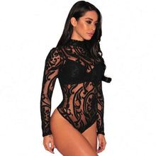 Neue Ankunft Transparent Dessous Mujer Langarm Spitze Sexy Frauen Bodys 2020
