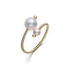 Ring Pearl Rings Pearlpearl Adjustable Ring Engagement Ring For Women Natural Freshwater Pearl Rings Handmade 14k Gold Plated Adjustable