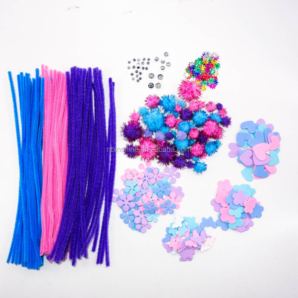 Wholesale 12 Inch Pipe Cleaners DIY Art Craft pack set Chenille Stems  assorted with eva flower sticker,glitter pompoms  paillet