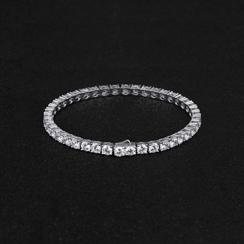 KRKC&CO Hip Hop Bracelet Men Jewelry 3MM 8inch White Gold Tennis Bracelet Diamond CZ Tennis Bracelet