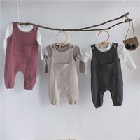 Wholesale korean style baby clothes 2019 autumn and winter baby girl suspender outfits