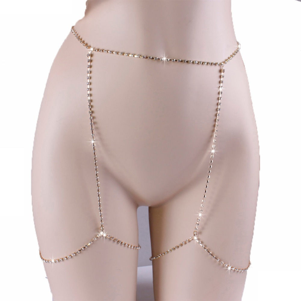 AliExpress hot sexy body chain flash claw drill belly waist woman chain panty