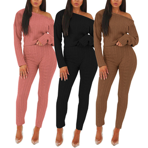 Custom boutique sweater suit fall women clothing two piece sets