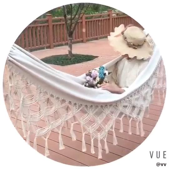 Heiße Verkäufe 2 Person Hängematte Macrame Luxus Komfortable Faltbare Hängematte Im Freien Schaukel Net Stuhl