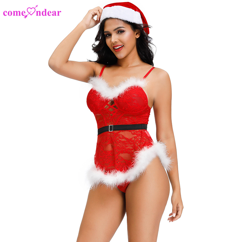 Wholesale fur trim women santa claus costume ladies sexy christmas lingerie
