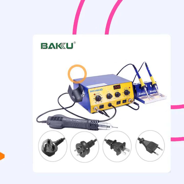 products factories 3 in 1 hot air rework soldering iron station with CE certificate BK-603D
