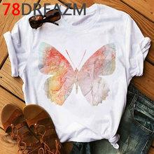 Женская футболка с акварелью и бабочками, каваи, Графический Топ большого размера, летняя одежда, милая модная футболка для женщин 2020(China)