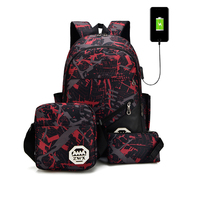 Latest full printed fashion student ultra light camouflage 3 pieces school backpack bag set with usb charger