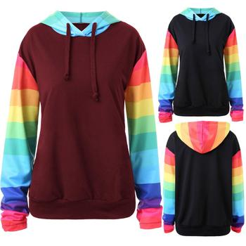 Women Casual Slim Hooded Rainbow Print Long Sleeve Sweatshirt