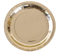 Gold Paper Plates 9 inch Disposable Plates With Gold Foil For Party, Holiday, Lunch, Dinner, Graduation, Wedding