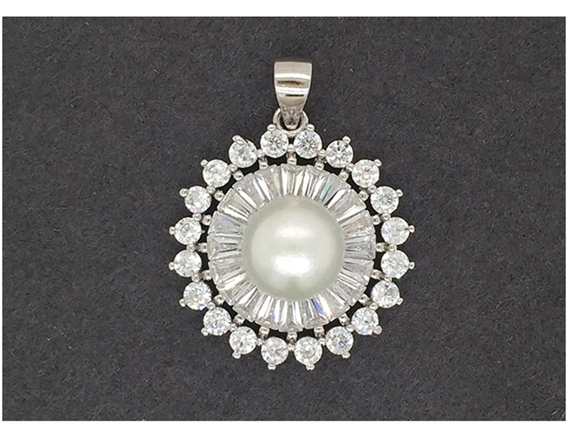 product-Sterling Silver Pearl Sunflower Jewelry, AAA CZ Sunflower Necklace-BEYALY-img