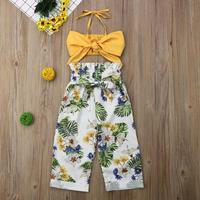 JHX020A factory in stock fashion design children girl yellow strap tank top floral long pant clothing set