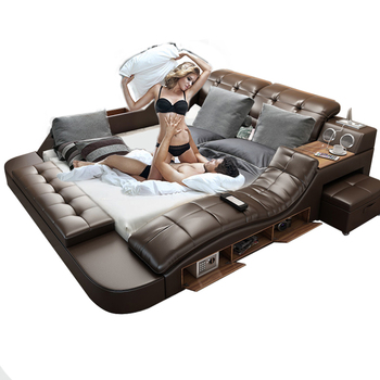 Wholesale Factory Cheap Double Furniture Leather Storage Modern Tatami Multifunctional Market Luxury Simple Fabric Smart Bed
