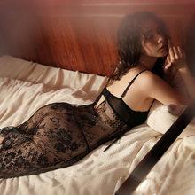 Женское соблазнительное летнее ночное белье, кружевная ночная рубашка на бретельках с накладкой на грудь(Китай)