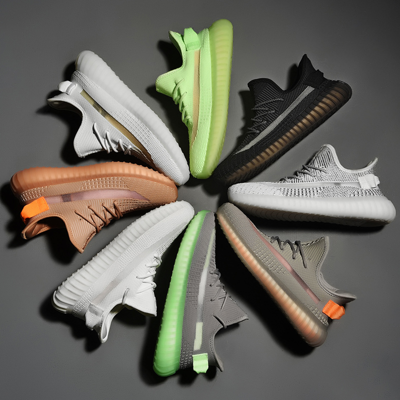 High-end Multilayered Sole -E-TPU Material Comfortable 350 V2 Reflective Upper Silver Pink Women Fashion Sneakers