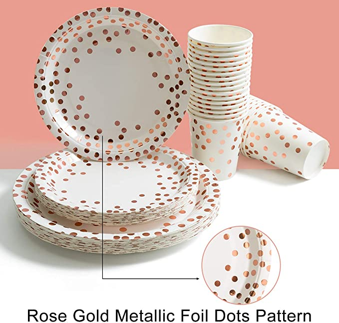 175 Piece Gold Party Supplies Set - Disposable Paper Dinnerware Serves 25 Silverware Sets for Wedding Bridal Shower Baby Shower