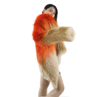 2020 New Fashionable Style Anti-Wrinkle Hot Selling Winter Thermal Fox Crystal Hanging Dyed Fur Coat For Women
