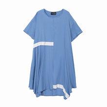 Женское платье EAM, желтое платье большого размера с коротким рукавом и круглым вырезом, весенне-летняя мода 2020 1W735(Китай)