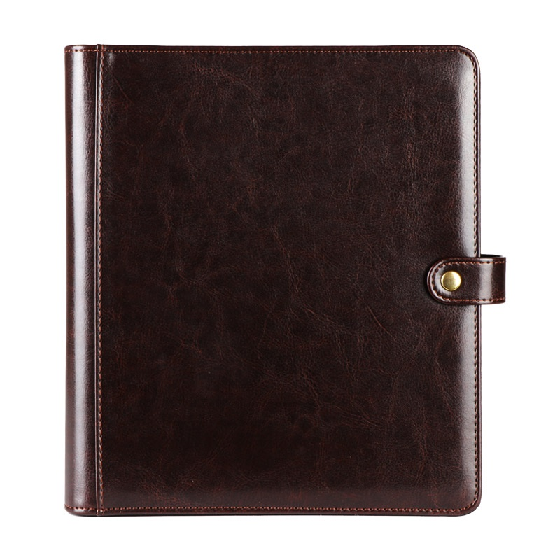 Brown A4 Size Soft Leather Cover 24 Pages Menu Photo Album With Button