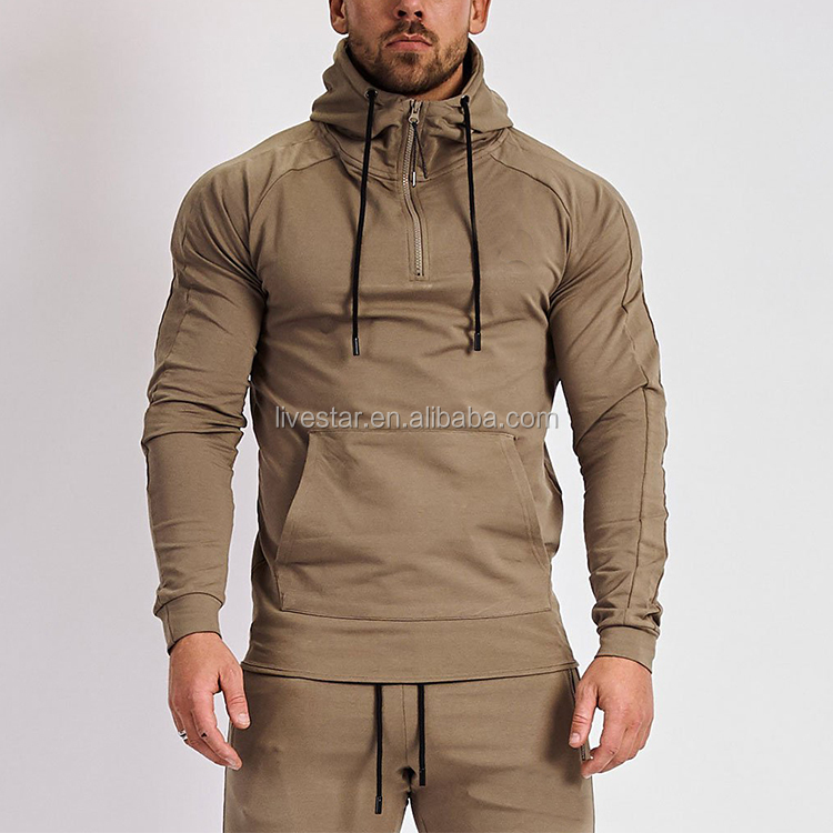 oem custom Fitness Sweatshirt Gym Clothes Eclipse Khaki Pullover mens hoodie with 1/4 zipper