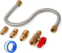Green Valve One Stop Gas Appliance Hook Up Kit - Brass Gas Ball Valve and Flexible Gas Connector w/Fittings
