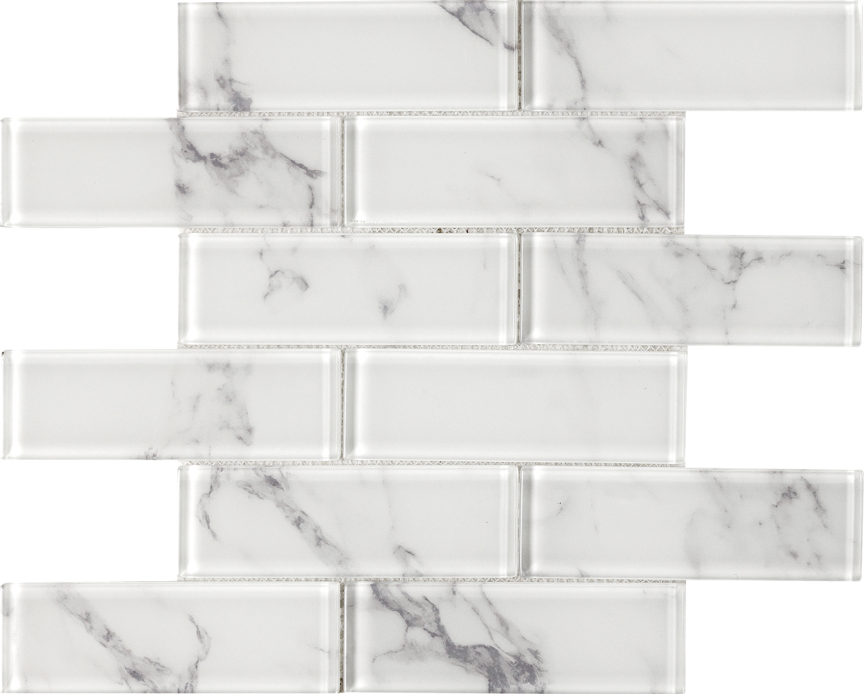 Top Selling bianco carrara mosaic glass , laminated glass mosaic for bathroom and kitchen Foshan China