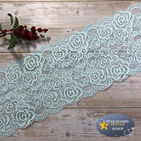 Wholesale price Multi-colors 18cm embroidered rose pattern design elastic lace trim