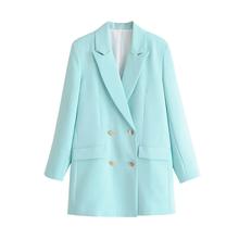 ZRN Модные женские сплошные блейзеры и куртки, офисный женский костюм, свободный Двубортный повседневный деловой Женский блейзер(Китай)