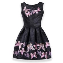 Платья для девочек, летние детские платья без рукавов в полоску с принтом в виде бабочки и единорога, одежда для девочек, вечернее платье при...(Китай)