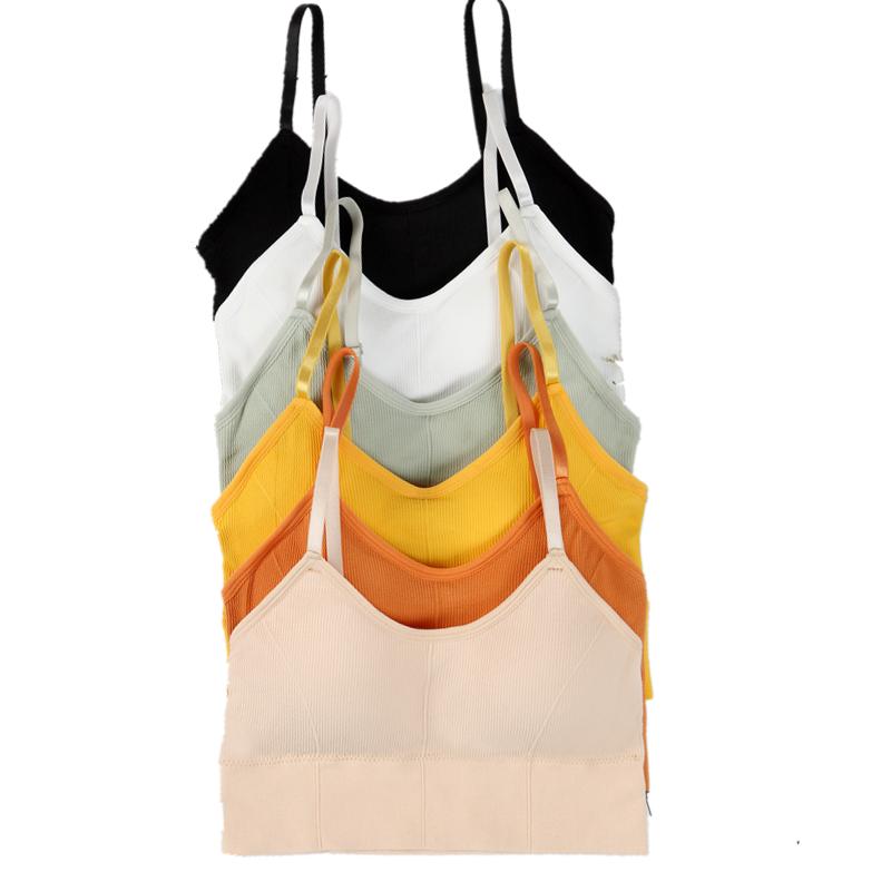 Envoltório peito conjuntos bralette colheita top colete sutiã sem costura sem anel de aço conforto brassier simples push up algodão elástico adolescente yoga