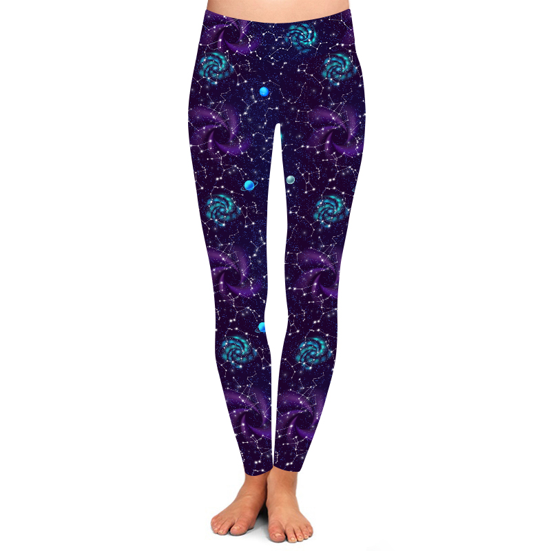 Butter Weiche pfirsich haut 92% Polyester 8% Spandex 230GSM 3 ''Hohe Taille lila galaxy raum leggings