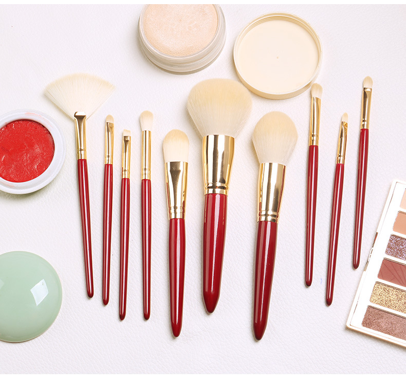 high quality 10 pcs synthetic hair powder makeup brush set